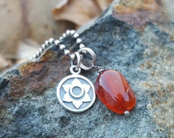ON SALE TODAY Second Chakra Symbol Charm - Small Sterling Silver - Double Sided with Sanskrit Word - Sacral 2nd