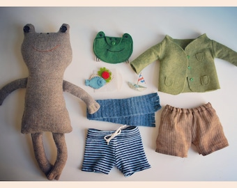 Tan Tweed Toad Plushie Doll with Clothing and Accessories - Frog & Toad Books - Recycled - Eco-friendly - Heirloom - Stuffed Animal
