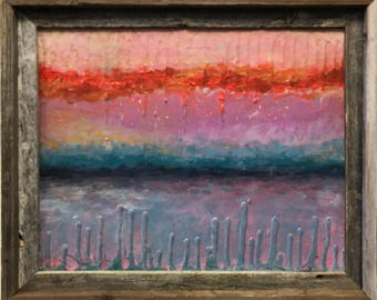 Fire Sunset 16x20 textured abstract surrealist landscape by Maxine Orange Destin FL artist