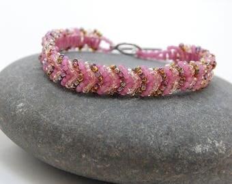 Bubble Gum/Beaded Bracelet/Bangle/Beadwoven Bracelet/Accessory/Handmade Jewelry/Gift for Her/Valentine's Day
