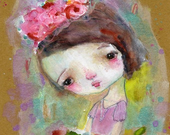 SALE Flower Magic - mixed media art print by Mindy Lacefield
