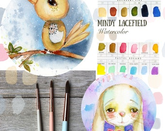 Draw and Paint a bird and bunny watercolor tutorial - by Mindy Lacefield
