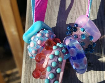 Set of 7 Assorted Handmade Lampwork Glass Ring Beads with 2 FREE Ribbons and Chain  Bubble Gum Girl!