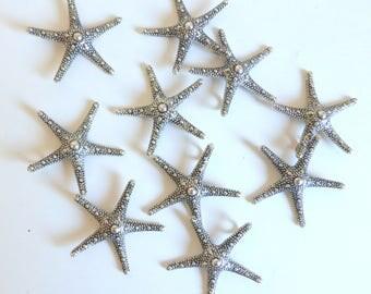 Large Starfish Charms Pendants Silvertone Lead Free, Cadmium Free Set of 10 Beachy Charms Necklace Bracelet Zipper Pull Nautical Ocean Charm