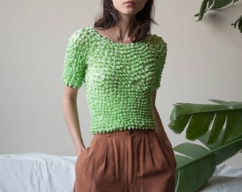 green micropleat popcorn top / simple crinkled top / minimalist top / s / m / 3173t / B18