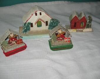 Four vintage Christmas putz houses