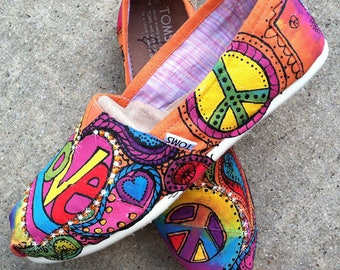 Toms. Painted Shoes, Boho Hippie Shoes, Custom Flats for Music Festival, Tie Dye Style Bridal Party, Woodstock 1969, Peace Love Rock N Roll