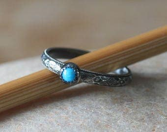 Turquoise Floral Stacking Ring in Sterling Silver • Size 7 Oxidized • Serrated Bezel Cup • Stacking Ring • Flower Ring • Womens Ring • OOAK