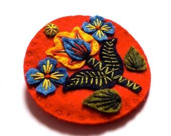 HALF PRICE Summer Sale Oslo felt brooch pin with freeform embroidery - scandinavian style