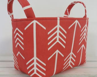 READY TO SHIP - Storage and Organization  - White Arrows on Coral - Fabric Organizer Bin Storage Container Basket - Tribal Aztec