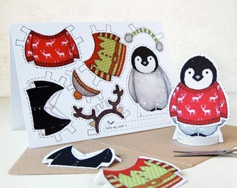 SALE Penguin Dress Up Christmas Card - Penguin Paper Dolls Card - Paper Doll Penguin Toy - Kids Penguin Christmas Craft Activity