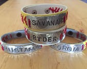Personalized  baseball or softball bracelet personalized Free Shipping!