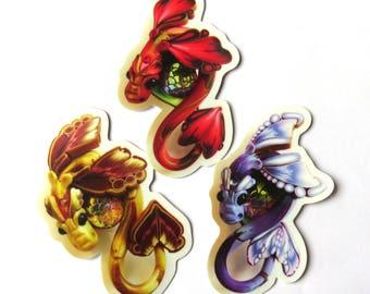 Set of 3 Dragon Stickers, Vinyl Sticker Original Artwork
