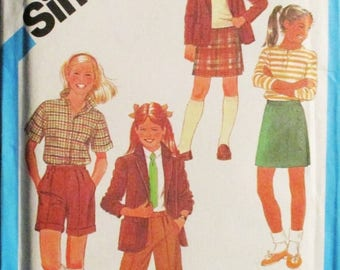 60% OFF SALE 1980s Vintage Sewing Pattern Simplicity 6553 Girls Jacket, Pants, Shorts & Skirt Pattern Size 8 Uncut