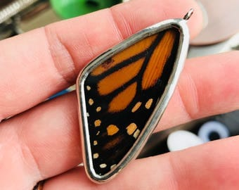 Discount Real Butterfly Wing Necklace. Butterfly Jewelry. Monarch Pendant. Butterfly Necklace. Orange and Black Butterfly Pendant