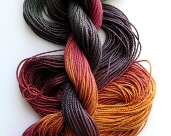 """Size 3 """"Knitty Gritty"""" hand dyed thread 6 cord cordonnet tatting crochet cotton"""