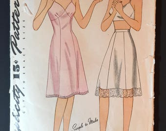 Original Vintage 40's Simplicity #4628 Sewing Pattern Slip and Half Slip