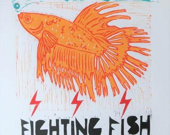 Fighting Fish Block Print