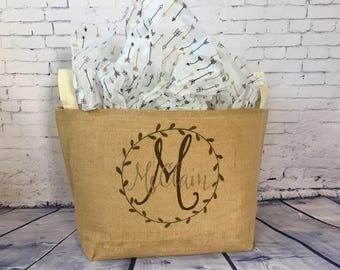 monogram burlap storage container, burlap bin, reusable gift basket, personalized wedding gift, bridal shower gift, wedding card basket