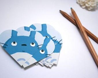 Totoro fanart - Set of 6 heart shaped stickers