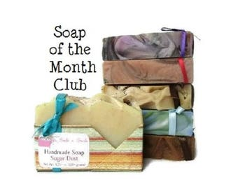 Soap of the Month Club - 12 Month Vegan Soap Subscription - Artisan Soap - Birthday Gift for Her - Monthly Subscription Box - A Year of Soap