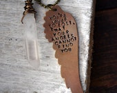 Guardian Angel Necklace - Hand Stamped Necklace - Angel Wing Necklace - Your Angels Are Always Watching  - Quartz Crystal Point
