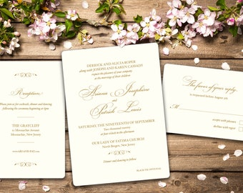 Elegant Cream and Gold Wedding Invitation