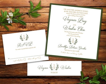Laurel Wreath Monogram Wedding Invitation