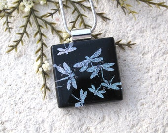 Petite Dragonfly Necklace, Glass Jewelry Dichroic Jewelry,Silver Black, Fused Glass Jewelry, Silver Chain, ccvalenzo, 080817p101