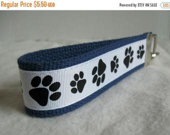 20% OFF Paw Print Key Fob - Black White on BLUE Key Chain - Cat Paw Print Wristlet - Dog Paw Print - Panther Paw Print - School Mascot Key R