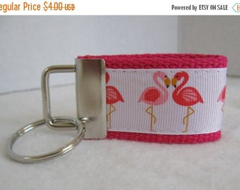 20% OFF Mini Key Fob Flamingo - PINK Key Chain - Flamingos Small Keychain - Flamingo Zipper Pull - Flamingo Key Ring