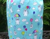 Pugs drawstring bag, knitting project bag, WIP bag, crochet project bag, Pugs and Balloons, Suebee