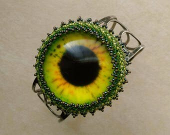 Beadwoven EYE Bracelet, Silver Lace Cuff, Inspirational Embroidery, Knowledge, Halloween Sunflower - Eye See You by enchantedbeads on Etsy