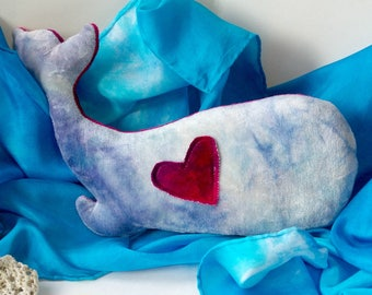 Natural Stuffed Animal: Organic & Ecofriendly Plush Whale Toy (Hand Dyed Bamboo Velour and Wool) 'Hortense' Blue and Pink Whale