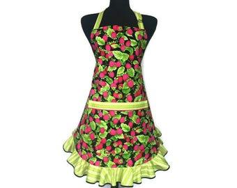 Retro Raspberry apron for women , Pink and Green Kitchen / bakery decor , Retro Ruffle / Adjustable with pocket / kitchen
