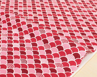 Japanese Fabric - waves - red, pink - 50cm