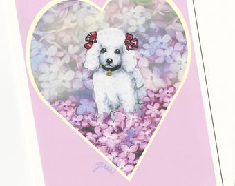 White Baby Poodle in Lavender Lilac Flowers  Note Card with Envelope