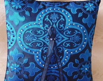 On Sale Renaissance Hand Beaded Quatrefoil Cross Ring Pillow