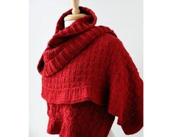 Rococo Merino Wool Hand Knit Shawl in RED, Luxurious Merino Wool Wrap, Women's Fall Winter Scarf Fashion, Hygge, Warm, Wedding, Bride