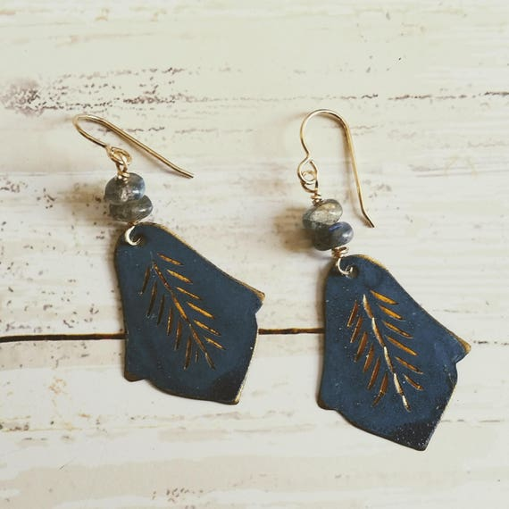 Vintage Blue Tin 14K Gold Fill , Labradorite Earrings