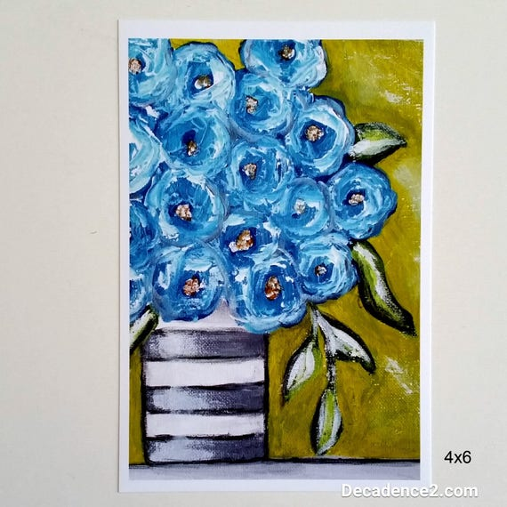 Blue Flowers in Black & White Striped Vase, Art Print, Floral Print, Flower Print