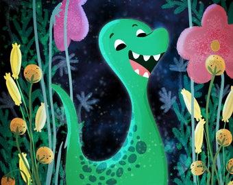 """Dinosaur and girl, Dinosaur art, Dinosaur nursery - """"Roar"""""""