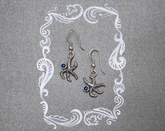 Jewelry for mermaid. Starfish earrings with blue gem apatite. Gift for her