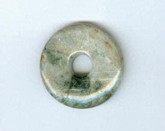 Jasper Donut Pendant, 35mm Gray with Dark Green Jasper Gemstone PI Donut Focal Pendant 5127