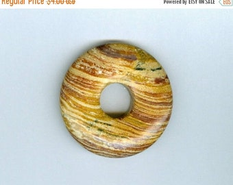 PI DAY SALE 40mm Brown Donut, 40mm Brown and Cream Swirly Gemstone Pi Donut Focal Pendant 622T