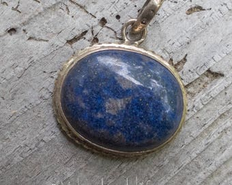 Large Denim Lapis Oval Sterling 925 Pendant || Earthy and Organic | Natural Lapis Oval Stone | Vintage Lapis Stone Pendant Under 40