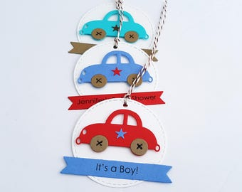 Car Tags, Car Baby Shower Tags, Car Baby Shower FavorTags, Birthday Party Favor Tags, Car Party, Choice of Text