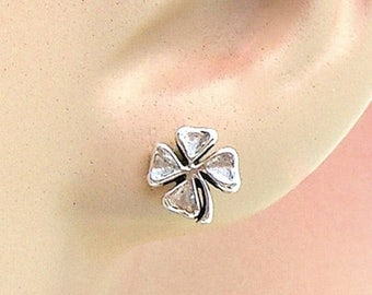 Welcome Summer Sale Earrings Four Leaf Clover Sterling Silver Lucky Minimal Ear Studs no. 3488