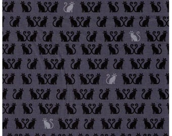 HALF YARD Tiny Happy Lucky - Kitties in Rows - Black and White on Slate Grey - Heart Tails - Designed by Cynthia Frenette for Robert Kaufman