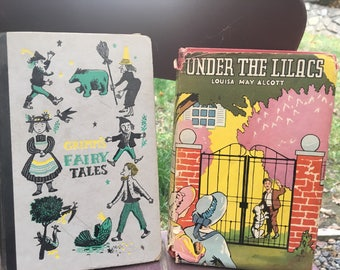 Vintage Book Childrens Lot Under the Lilacs Grimms Fairy Tales epsteam Louisa May Alcott Pink Purple Blue